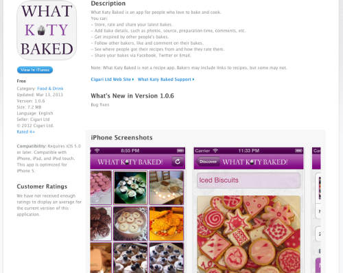 What Katy Baked on iTunes